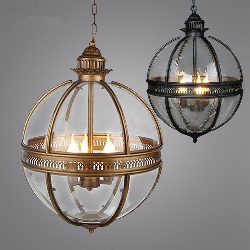 Vintage Loft Globe Pendant <font><b>Lights</b></font> Wrought Iron Glass Shade Kitchen <font><b>Light</b></font> Dinning Hanging Lamps Bar pendente Luminaire Fixture