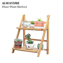 Alwaysme Bamboo Floor Plant Flower Display Stand Shelf