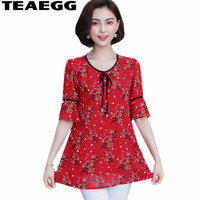 TEAEGG Robe Ete 2019 Femme Women Shirts Blouses Floral Print Womens Blouses And Tops Flare Sleeve Chiffon Red Blouse FemmeAL1228