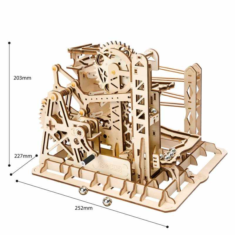 ROKR DIY Marble Run Game 3D Wooden Puzzle Gear Drive Lift Coaster Model Building Kit Toys for Children Adult LG503