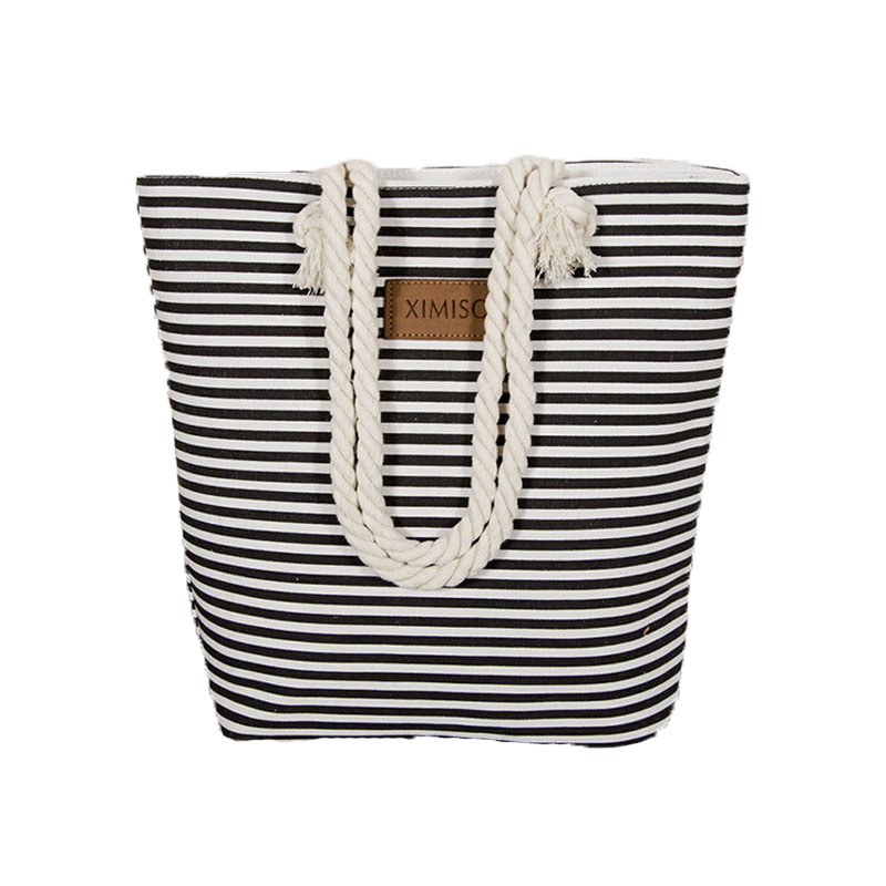 Girl Casual Summer Canvas Shopper Shoulder Bag Striped Beach Bags Large Capacity