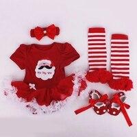 4pcs Set Newborns Baby Girls Summer Rompers Tutu Dress Bodysuit Baby Christmas Costume Clothes 1st Birthday