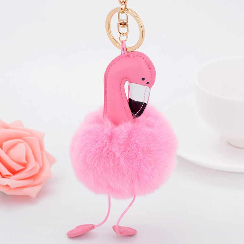 Moda Couro PU Pele de Coelho Fofo Flamingo Chaveiro Pele Pom Pom Pompom Chaveiro Llavero Chaveiro Bolsa Charme Chave Pingente