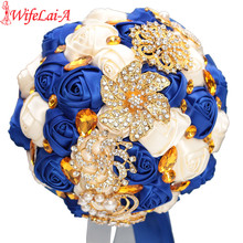 WifeLai-A Gold Bright Diamond Silk Wedding Bouquet RoyalBlue Ribbon Bouquets de noiva Handmade Satin Bouquet Multiple Color W227