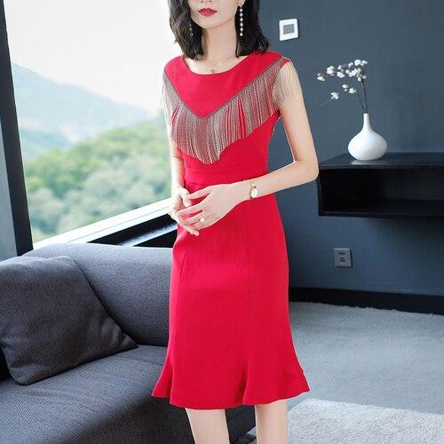 Mode gland robe mi-longue couleur Pure célébrité fête sirène femmes robe tempérament robe élégant classique Vestido De Festa