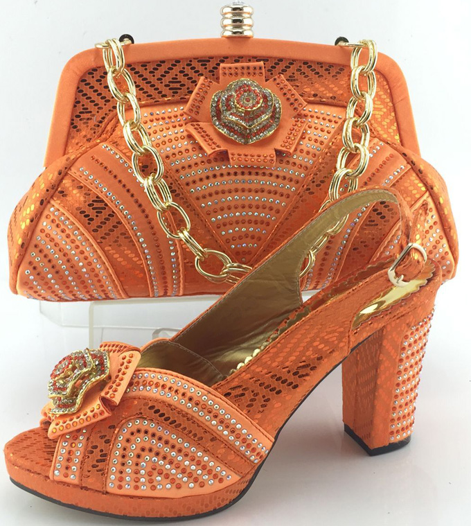 New design Orange platform high heel African Italian shoes and matching bag for wedding party evening