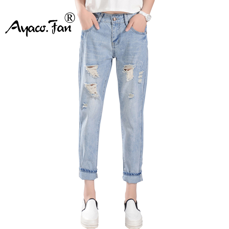 2017 New Women Harem Pants Spring Summer Denim Pencil Pant Mid Waist Hole Ripped Line Patch Printing For Lady Ankle-Length Jeans new summer vintage women ripped hole jeans high waist floral embroidery loose fashion ankle length women denim jeans harem pants