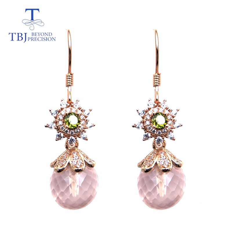 TBJ,New style hook earring natural rose aquatz ball and tourmaline gemstone  925 sterling silver jewelry best gift for ladyTBJ,New style hook earring natural rose aquatz ball and tourmaline gemstone  925 sterling silver jewelry best gift for lady