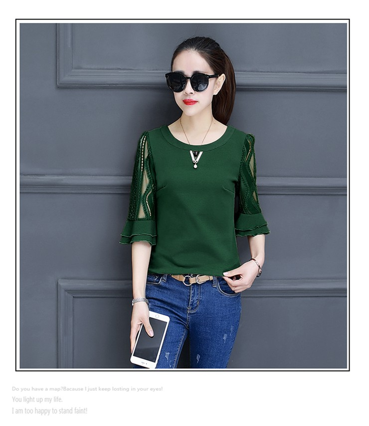 Women Blouse Summer Tops 2018 New Arrival Patchwork Blusas Mujer Lace Flare Sleeve Female Shirts Khaki Green Yellow  (11)