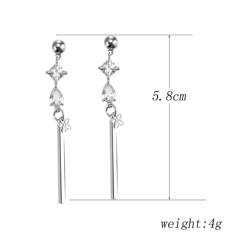 Hesiod Silver Color Cubic Crystal Earrings for Women Long Tassel Rhinestone  Bar Drop Dangle Earrings Wedding Jewelry -in Drop Earrings from Jewelry ... e2995ecfb25b