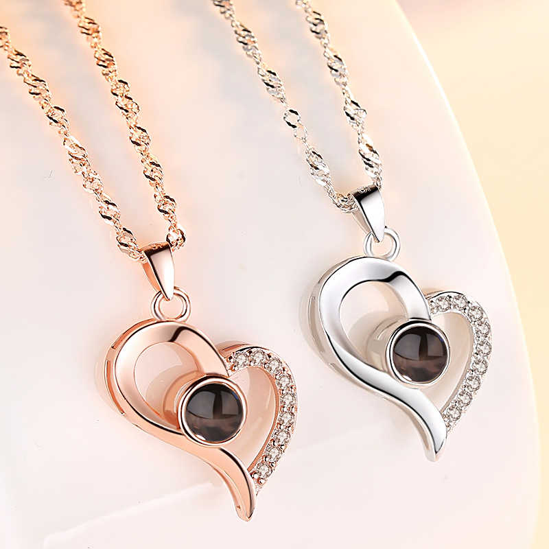 Ladies 925 Sterling Silver Rhinestone Pendant Necklace Projection 100 Languages I Love You Birthday Gifts Valentine Gift