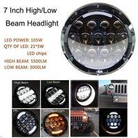 1pcs 7inch 105w Led Headlights Tractor Yellow DRL Headlight For Motorcycle JEEP Wrangler Jk Tj Fj