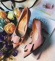 Туфли на Высоком каблуке женские осенние 2017 новых металлической пряжкой туфли на высоком каблуке женские мелкая рот Корейский замши указал штраф с высокой