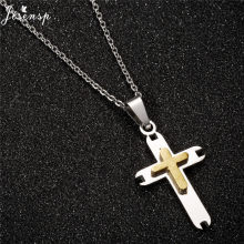 Jisensp 2019 Fashion Gothic Cross Pendant Necklace for Women Men Christian Simple Cross Long Chain Necklace Christmas Jewelry(China)