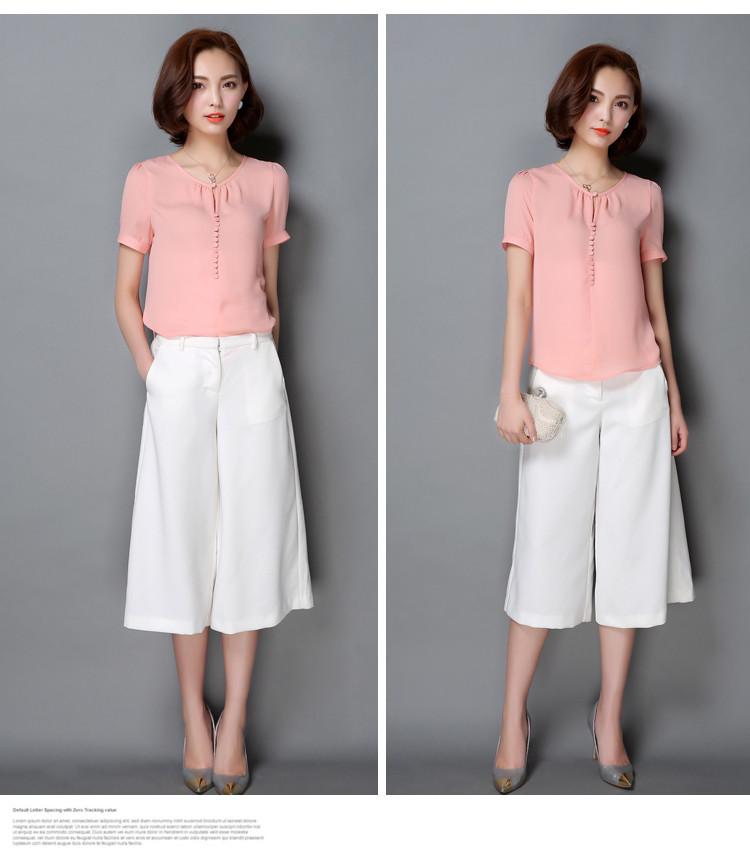 HTB15RvINXXXXXX1XpXXq6xXFXXXn - Casual Women Chiffon Blouse Ladies Solid Short Sleeve