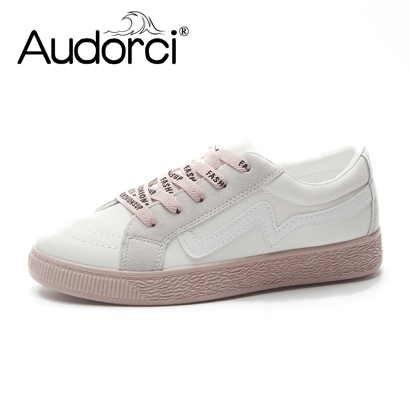 Audorci 2018 Summer Women Lighweught Flats Shoes Woman Canvas Casual Shoes Outdoor Walking Female Board Shoe Size 35-40