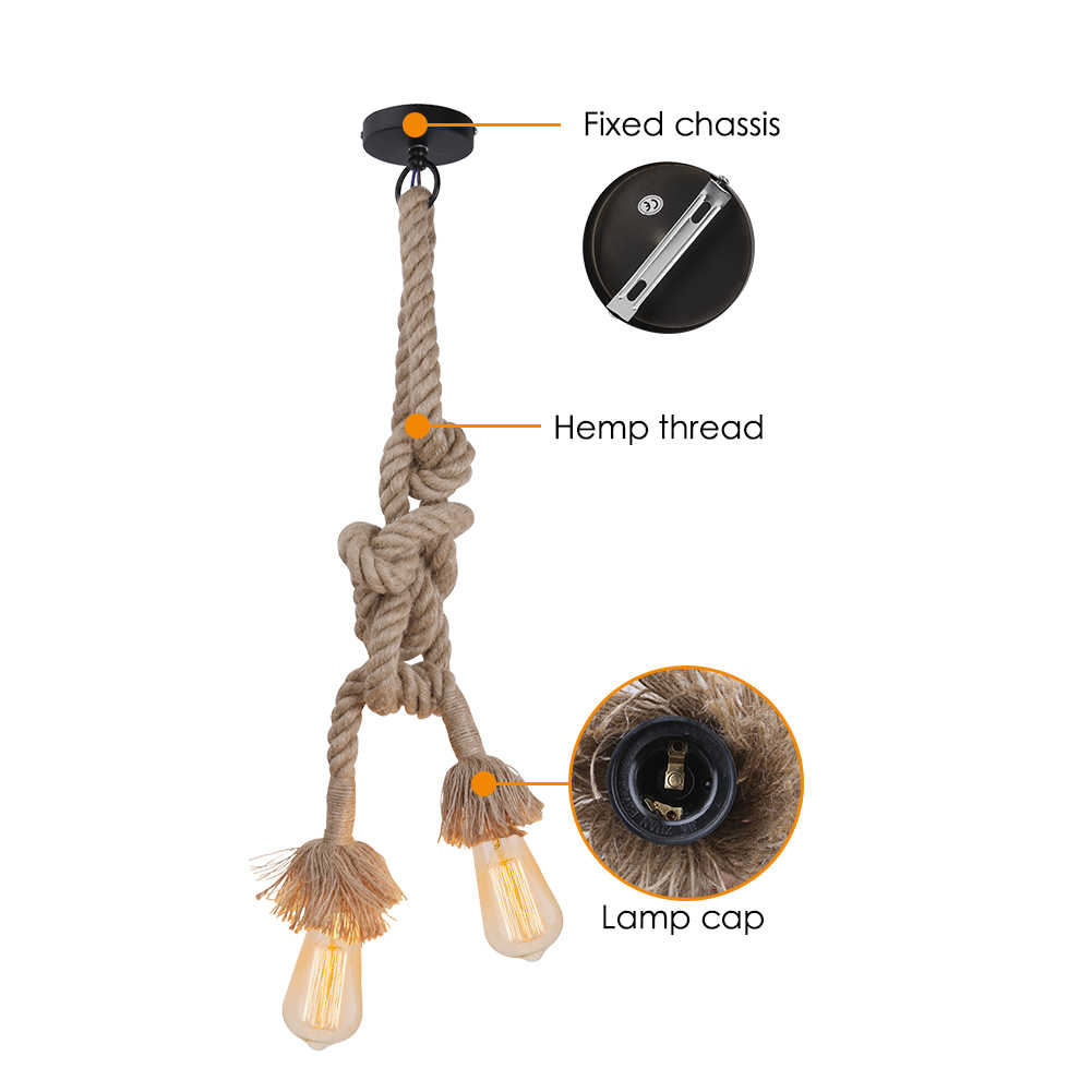 E26/E27 40 Вт лампочка Эдисона пеньковая веревка подвесной светильник лампа ретро Винтаж Лофт творческая личность промышленные лампы