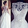 Vestido De Noiva 2017  A Line Lace Wedding Dresses With Embroidery sleeveless luxury Beading Bride Dress China Wedding Dress
