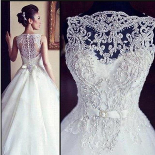 vestido de noiva 2017 una línea de encaje vestidos de novia con