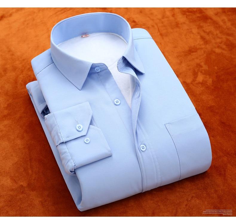 77b63f42be PAUL JONES Plus Size 5XL 6XL 8XL Dos Homens Sólida Camisa de Vestido Quente  Manga longa De Veludo Ocasional Térmica Inverno tamanho grande Camisas dos  ...