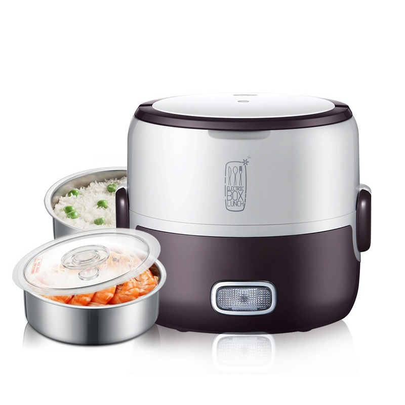DMWD 1.3L Electric Rice Cooker Portable Electric Heating Lunch Box Food Heater Steamer Heat Preservation For Office 1-2 People 3 layers portable electric lunch box for 1 2 people office home multi cooker mini rice cooker reheat