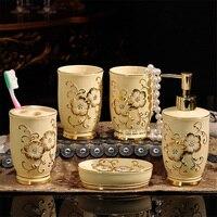 Neue Ankunft Europäischen stil Keramik Bad Fünf-stück Set 05001-1 Kreative Pflegeprodukte Spülen Tasse Pinsel tasse Set Heißer Verkauf