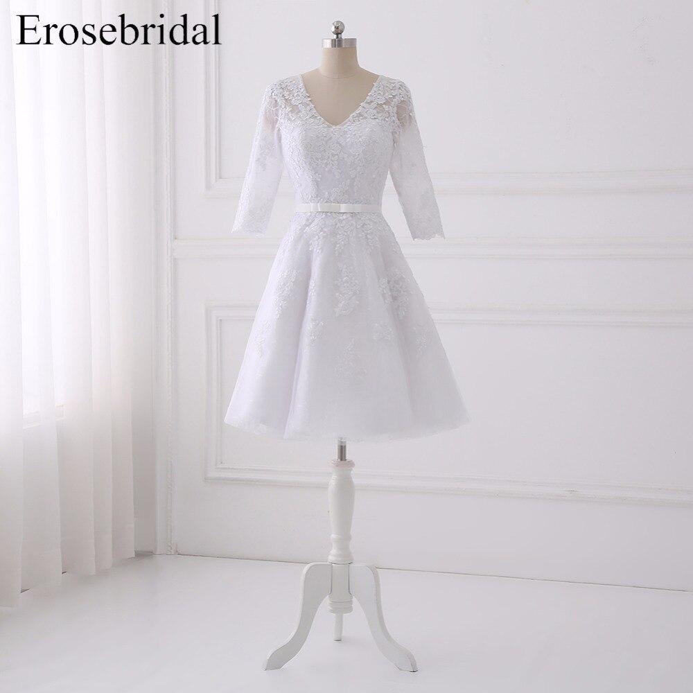 2019 courte genou longueur robes De mariée erosemariée une ligne plage robe De mariée bouton retour élégant à manches longues Vestido De Noiva
