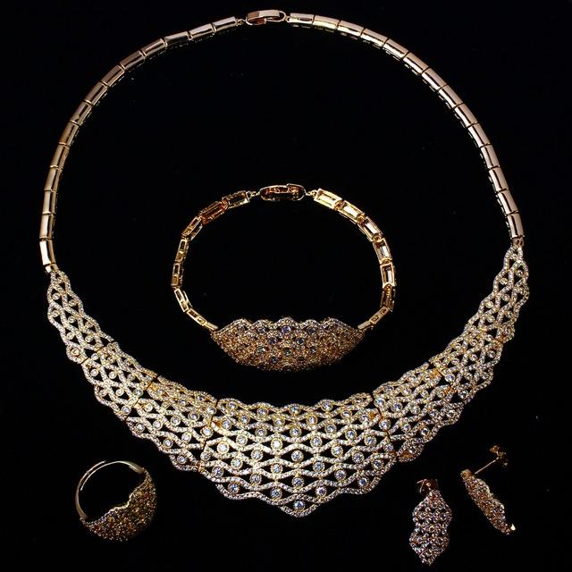 Novos Conjuntos de Jóias de casamento Das Mulheres banhado a ouro com Zircão Cúbico 4 pcs conjuntos (colar + pulseira + brincos + anel) remessa livre