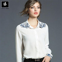 Europe Style Autumn Winter Lady Business Work Office Casual Shirt Embroidery Floral White Chiffon Blouse Long