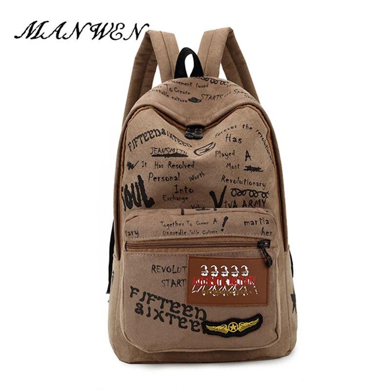 Manwen Корея модные элегантный дизайн рюкзак граффити коричневый Дорожные сумки для подростка Обувь для мальчиков/Обувь для девочек школьная ...