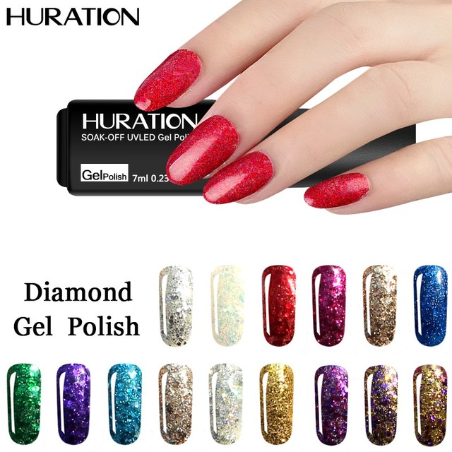 Huration 7ML Glitter Diamond UV LED Lucky Nail Art Polish Gel ...