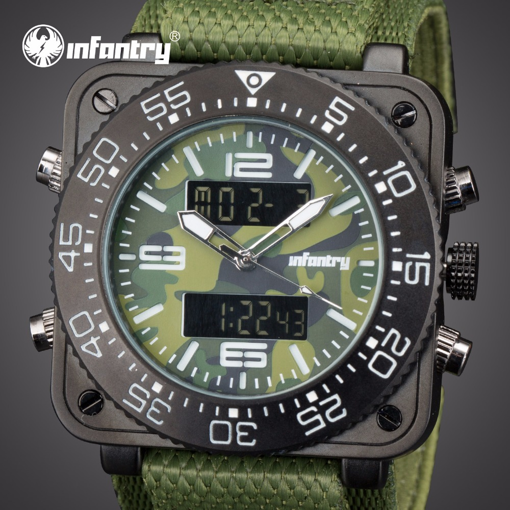 INFANTRY Mens Watches Top Brand Analog Digital Military Watch Men Square Watches for Men Army Tactical Green Relogio Masculino infantry mens watches top brand analog digital watch men military tactical army watches for men dual time relogio masculin 2018