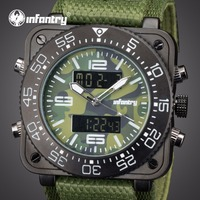 INFANTRY Mens Watches Top Brand Analog Digital Military Watch Men Square Watches for Men Army Tactical Green Relogio Masculino