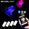 Teléfono móvil Bluetooth APP de Control RGB Resplandor Del Coche LED COB Atmósfera Estilo Lámparas de Bajo Luces de Acento Reposapiés que cambian de Color