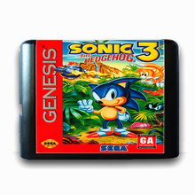 Sonic tarjeta de memoria The Hedgehog 3, 16 bits, MD, para Sega Mega Drive 2, SEGA Genesis Megadrive