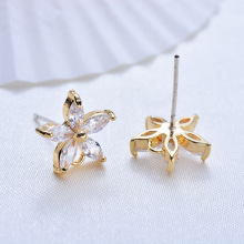 (120)4PCS 11MM 24K Gold Color Plated Flower with Zircon Stud Earrings High Quality DIY Jewelry Making Findings