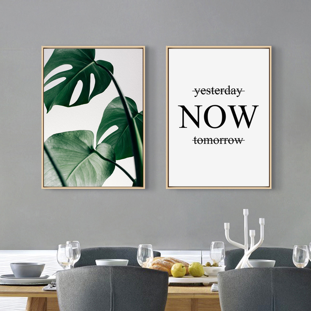 Nordic Style Canvas Print Painting Poster Green Leaf Monstera Deliciosa Quoteunframed Wall Picture Home