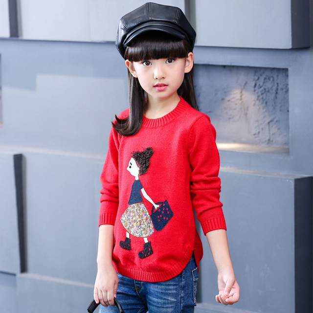 Lovely Princess Sweater Lolita Style 5-14Years Old Girl's Sweater Nice Quality Wool Autumn/Winter Students Cartoon Clothing