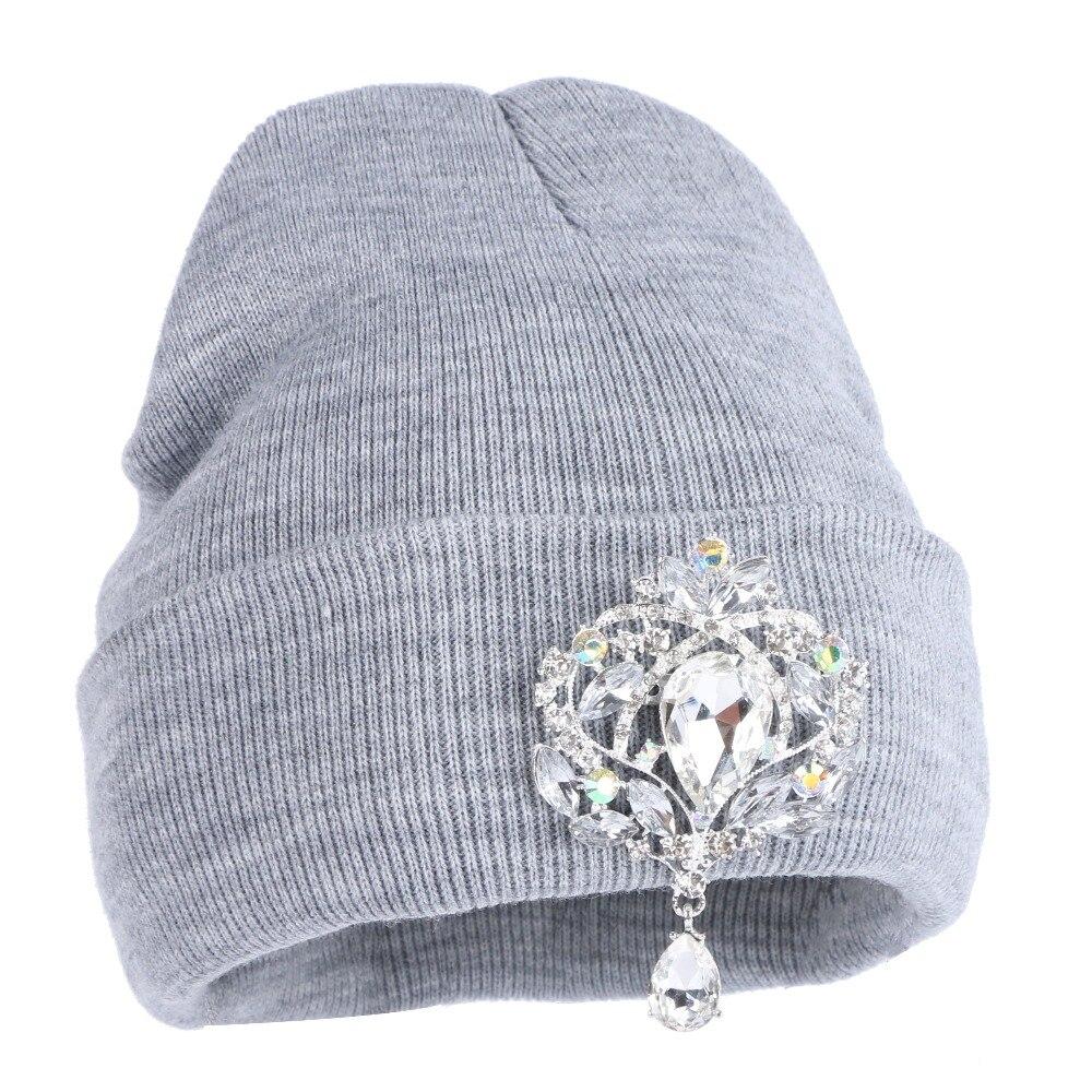 895b300de9650b Girl women fashion beanies winter hats luxury crystal floral casual  skullies woman new design winter hat beanie.