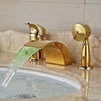 LED Widespread Golden Brass Waterfall Bathroom Tub Faucet 3 pcs Mixer Tap Shower