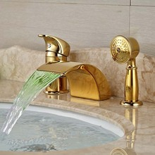 LED Widespread Golden Brass Waterfall Bathroom Tub Faucet 3 pcs Mixer Tap Shower