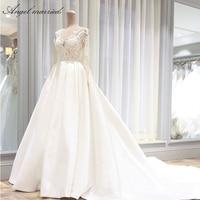Angel married wedding Dresses vintage wedding gown long sleeve lace bridal dress wedding party dress vestidos de novia