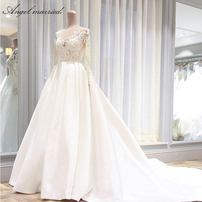 Angel married wedding Dresses vintage wedding gown long sleeve lace bridal dress  wedding party dress vestidos de novia-in Wedding Dresses from Weddings & Events    1