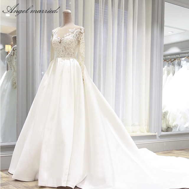 Vintage Wedding Dresses For Sale.Angel Married Wedding Dresses Vintage Wedding Gown Long Sleeve Lace Bridal Dress Wedding Party Dress Vestidos De Novia In Wedding Dresses From