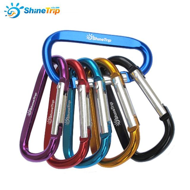 10Pcs ShineTrip Aluminum D Shape Buckle Carabiner Survial Key Chain Carabine Hook Clip Camping Equipment EDC Paracord Buckles