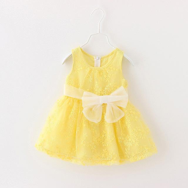 Nuevo 2016 del cordón del verano vestido de la princesa de la ropa del bebé para 1 year cumpleaños de la niña arco lindo vestido party girls bebé del vestido
