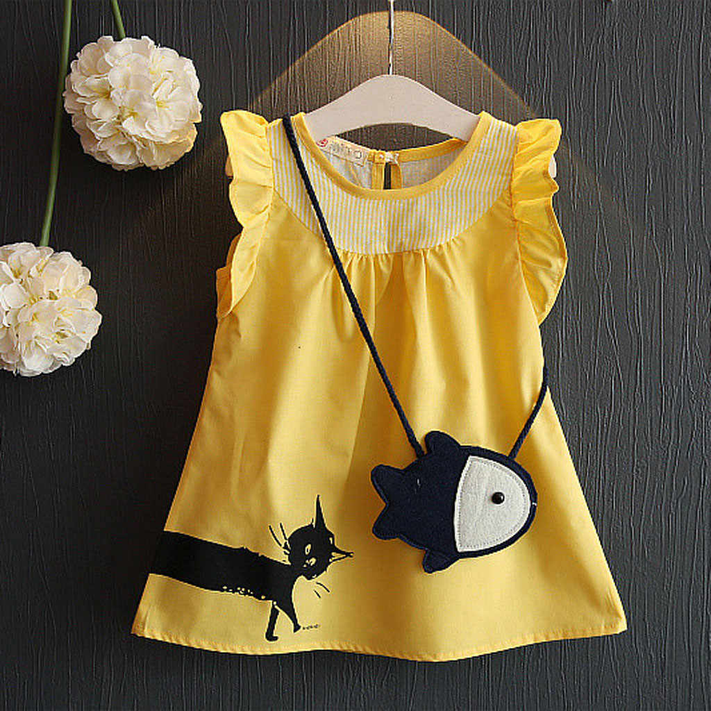 Toddler Kid Baby Girl Sleeveless Cartoon Fish Bag+Cat Casual Princess Dress sweet  princess dress cinderella