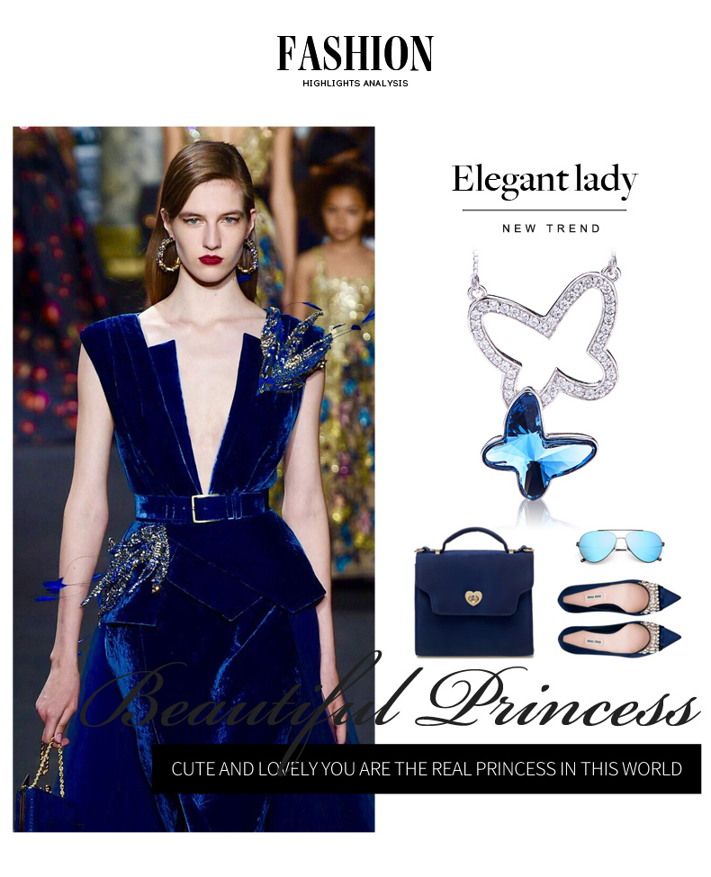 Blue Crystals from Swarovski Butterfly Necklace (4)