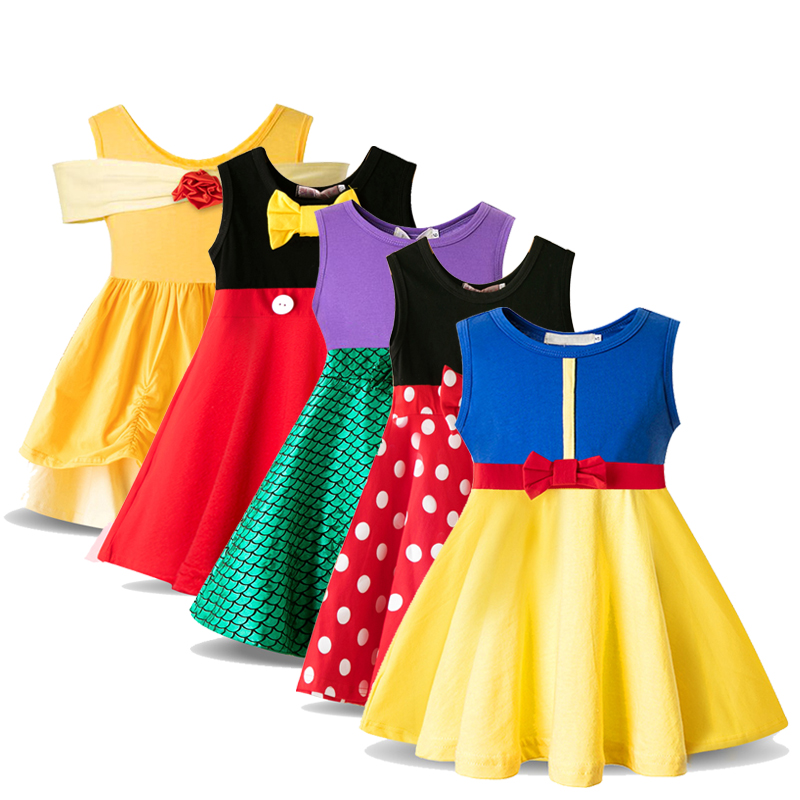 Princess Kid Costume Baby Girl Clothes Dress Snow White Toddler Girls Polka Dot Minnie Mouse Dress Elsa Children Clothing 3 8Y