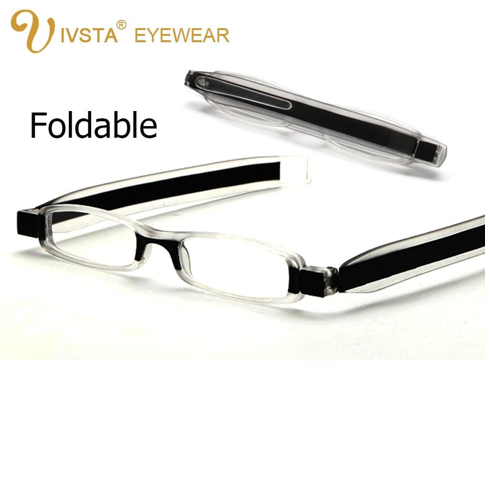 IVSTA 6606 Zložljiva očala za branje moški 360 rotacijski ženski okvir Slim smola asferične leče prezbiopična dioptrija + 1,00 + 2,5 +400